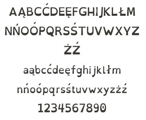 font znaków